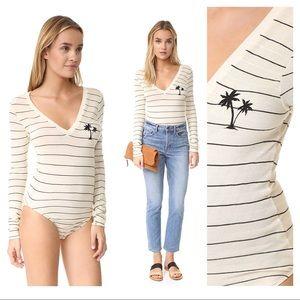 Wildfox palm tree striped bodysuit